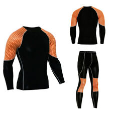 Compression Shirt Pants Set Long Sleeves Men's sportswear Leggings Sport Suit