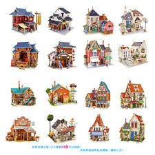 3D stereoscopic jigsaw puzzle model wooden DIY hut adult childrens toy world hut