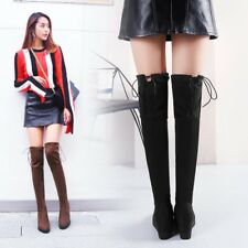 Womens Round Toe Fashion Over Knee Thigh Riding Boots Wedged High Heel Boots Hot