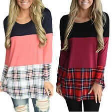 Womens Fashion T Shirt Long Sleeve Plaid T Shirt Back Lace Patchwork Tops