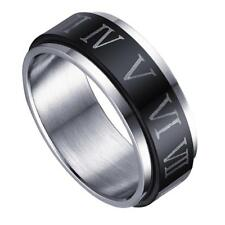 Punk Rock Mens Stainless Steel Roman Numerals Ring Turnable Band Ring