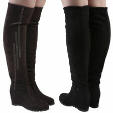 Quinn Womens Mid High Hidden Wedges Heels Knee High Calf Boots Ladies Shoes Size