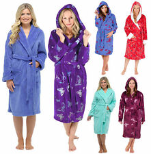 Ladies Hooded Housecoat Fleece Bath Robe Dressing Gown Soft Womens Size 8-22 New