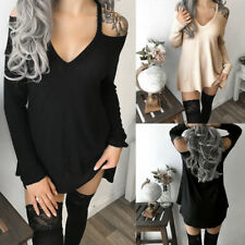 Sexy Backless Knitted Sweater Jumper Mini Dress Casual Loose Women long Sleeve