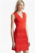 NWT $178 FCUK French Connection Pleat Jersey dress A line V neck Red S US 4 6