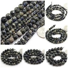 """Natural DarkSlate Blue Llanite Round Faceted Round Bead 15"""" 4 6mm 8mm 10mm 12mm"""