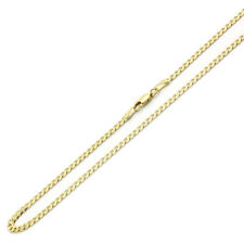 Men Women 14K Yellow Gold Chain 3.5mm Yellow Pave Curb Chain Necklace