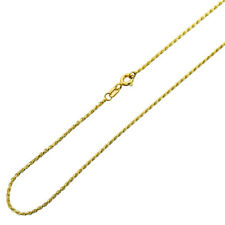 Men Women 14K Yellow Gold Chain 1mm Solid Rope Chain Necklace