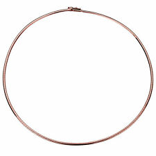 Women 14K Rose Gold Chain 2mm Flat Omega Necklace Chain
