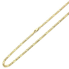 Men Women 14K Yellow Gold Chain 3.5mm Concaved White Pave Figaro Chain Necklace