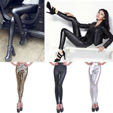 Womens Faux Leather Leggings Skinny Shiny Bodycon High Waisted Pants Trousers