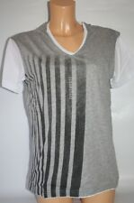 Zu Elements T-Shirt Officine Grey Striped Double Look Size Selection NEW