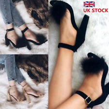 Ladies Furry Ankle Strap Sandals Womens High Block Heel Party Formal Shoes Size