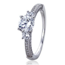 Women Sterling Silver Rhodium Plated 1ct Round CZ Vintage Style Engagement Ring