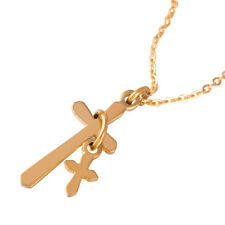 Men Women 316L Stainless Steel Gold Tone Charm Cross Pendant Necklace