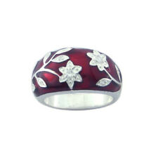 Women Sterling Silver Rhodium Plated, Red Enamel CZ Flower Design Womens Ring