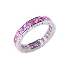 Women Silver Rhodium Plated Channel Pink Princess CZ Eternity Ring Wedding Band