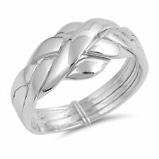 Men Women Sterling Silver 4 pcs Band Puzzle Ring 11mm / Free Gift Box