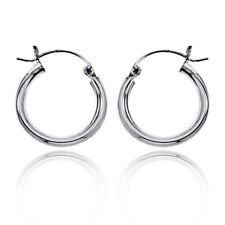 Women Sterling Silver High Polished 3mm Classic Round Tube Hoop Earrings
