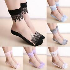 New 1 Pair Clear Lace Floral Patchwork Elastic Shorts Socks For Women DZ88