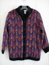 Vtg Heavy Cowichan Fuzzy Mohair Colorful Artsy Sweater Coat Jacket S