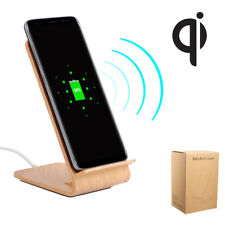 Wood Qi Wireless Charger Fast Dock Charging Desk Stand Holder For iPhone Samsung