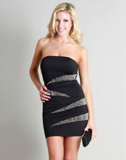 Womens Sexy Black Sparkly Embellished Strapless Tube Clubbing Dress Clubwear S-L