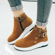 Comfort Womens Flat Heels Round Toe Solid Color Buckle Side Zip Punk Ankle Boots