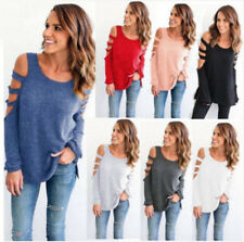 Womens Casual Long Sleeve T-Shirt Cold Shoulder Sweatshirt Pullover Tops Blouse