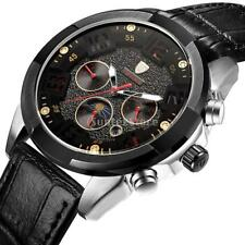 Tevise Automatic Watch Black Leather Strap Mechanical Moon Phase Six Hands Date