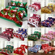 Christmas Quilt Cover Pillow Case Set Snowman Santa Claus Holiday Bedding J0B1
