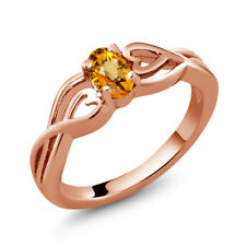 0.55 Ct Oval Yellow Sapphire 18K Rose Gold Plated Silver Ring