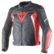 Dainese Avro D1 Mens Leather Motorcycle Jacket Black/Red/White