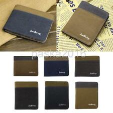 Men's Canvas Bifold Wallet Slim Hipster Denim Style Credit Card and ID Holder