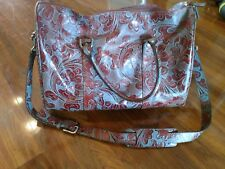 Wilsons Leather Duffle bag Leather Carry On Shoulder Bag, Floral Paisley Design