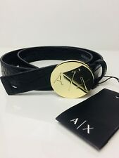 New Armani Exchange Womens   A|X  Round Buckle Embossed Croc Belt