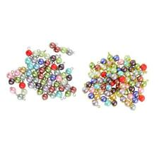 50pcs Colourful Dangle Pendant Loose Beads Flower Round Glass Pearl Beads