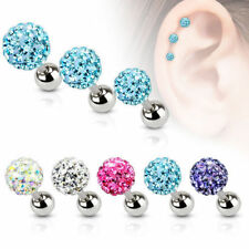 Set of 3 Tragus Helix Cartilage Piercing Ferido Crystal Stainless Steel Ear