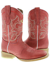 Women's Red Classic Western Cowboy Leather Mid Calf Ankle Square Toe Boots