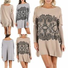 Womens Ladies Oversized Sequin Pattern Printed Long Sleeve Knitted Baggy Poncho