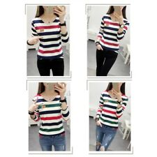 Women Student Stripe T-shirt Casual Long Sleeve Tops Blouse Spring Autumn