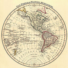 1825 Map New World or Western Hemisphere Vintage History Poster Home Office