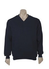 MENS CASUAL V-NECK FLEECY PULLOVER UNISEX JUMPER LONG SLEEVE S M - 5XL FB SW303V