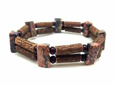 Hazelwood elastic double bracelet with Leopard Jasper Beads Choose Size