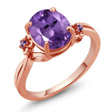2.24 Ct Oval Purple Amethyst 18K Rose Gold Plated Silver Ring