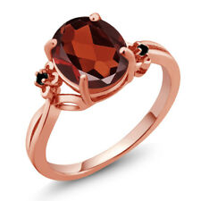 2.53 Ct Oval Red Garnet Black Diamond 14K Rose Gold Ring