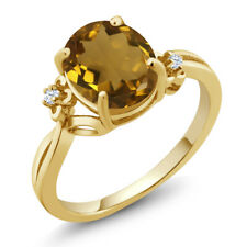 2.03 Ct Oval Whiskey Quartz 18K Yellow Gold Plated Silver Ring
