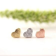 Rose Silver Gold Plated Tiny Heart Shaped Earrings Pair of Studs in Gift Bag/Box