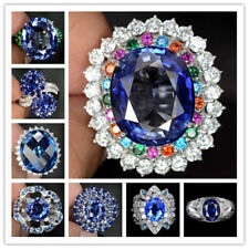 Woman Fashion Jewelry 925 Silver Ring Huge Blue Sapphire Wedding Ring Size 6-10