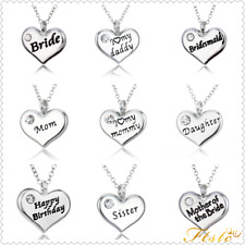 Family Xmas Gifts Crystal Love Heart Pendant Necklace Chains Jewelry Charms New
